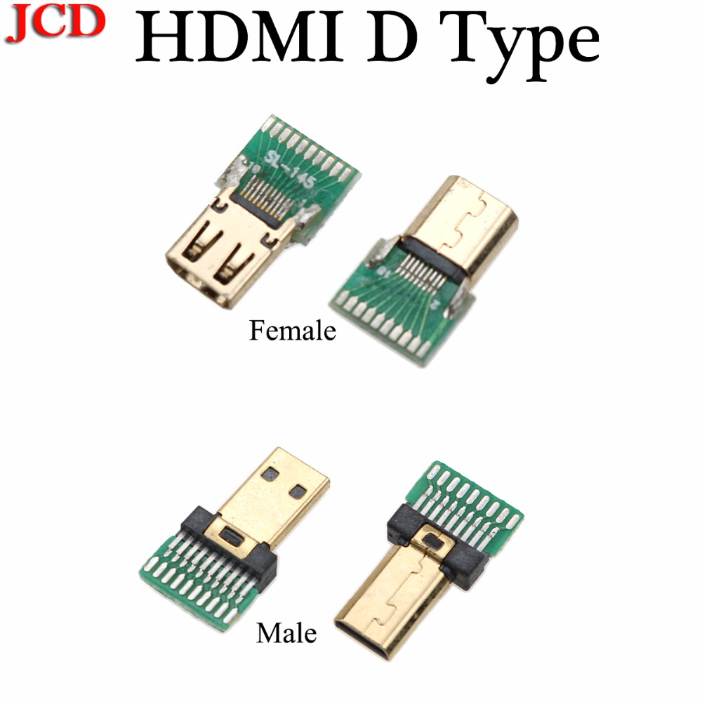 JCD  New Gold Plated 19P MICRO HDMI D Type Male Plug /Micro HDMI D TYPE Female Socket Connector With PCB Board Male / Female