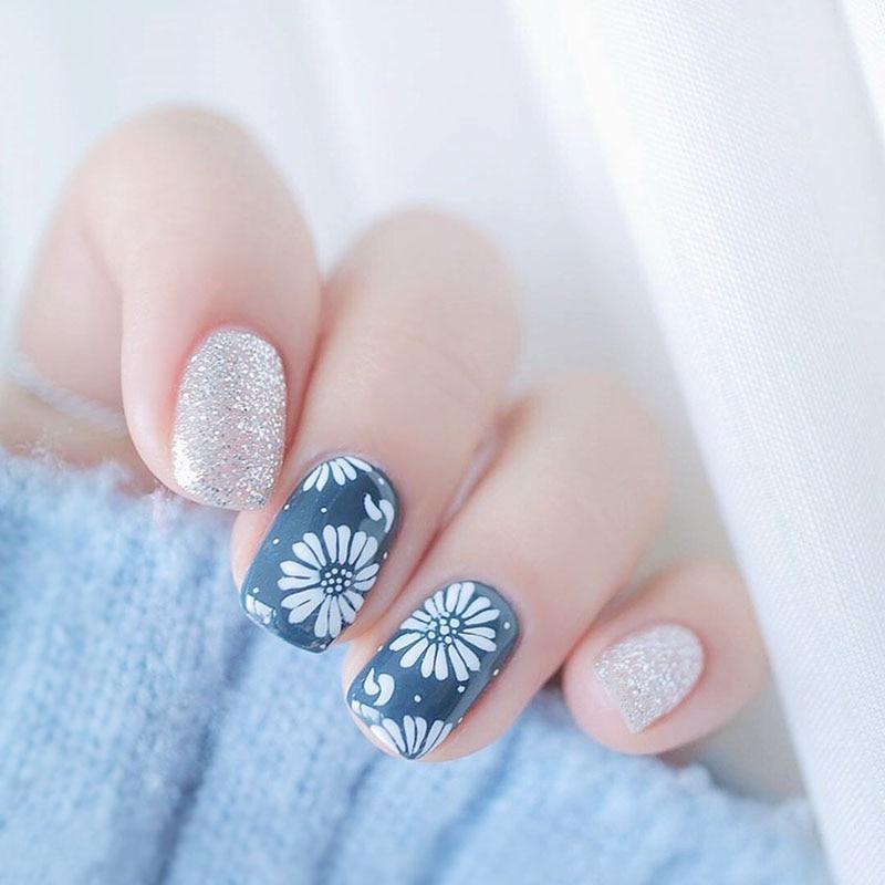 24pcs/set White petal+Silver flash powder design finished false nails Simple middle-long size lady full nail tips art tool bride
