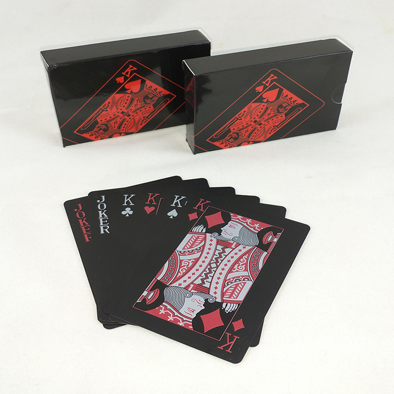 High Quality Waterproof PVC Plastic Playing Card Set Trend 54 Pieces Of Poker Set Classic Pure Black