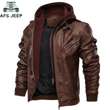 2019 Men's Leather Jacket Casual Motorcycle Removable Hood Pu Leather Jackets Male Oblique Zipper European size jaqueta couro(China)