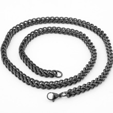 6MM Personality Design Stainless Steel Black Tone Lobster Buckle Figaro Wheat Link Chain Men's Women's Necklace 23.6 Xmas Gift