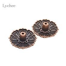 Lychee 2 Pieces Lotus Flowers Pattern Incense Burner Stick Holder Incense Base Plug Home Decoration