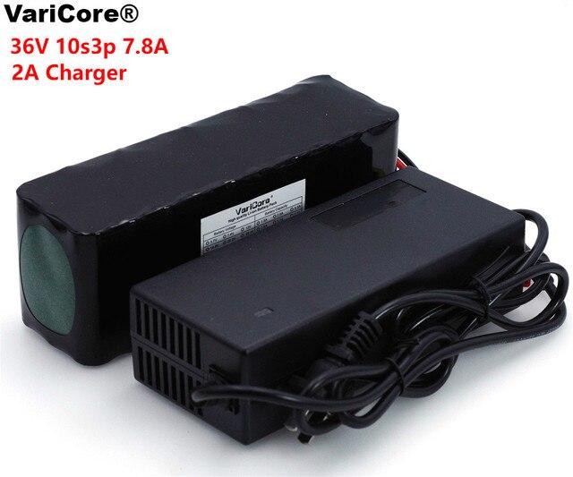 VariCore 36V 7.8Ah 10S3P 18650 pack de batería recargable, bicicletas modificadas, vehículo eléctrico 36V Protección PCB + 2A cargador