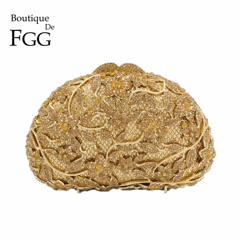 Wedding Formal Dinner Women Gold Crystal Evening Clutch Bags Metal Clutches Handbags Hollow Flower Bridal Purse Bolsas De Mano gold plating floral flower hollow out dazzling crystal women bag luxury brand clutches diamonds wedding evening clutch purse