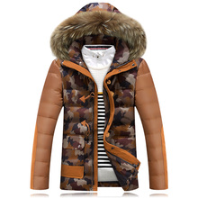 HRM Men's short section of thick down jacket male Korean Slim camouflage hooded men's fashion winter coat with fur collar