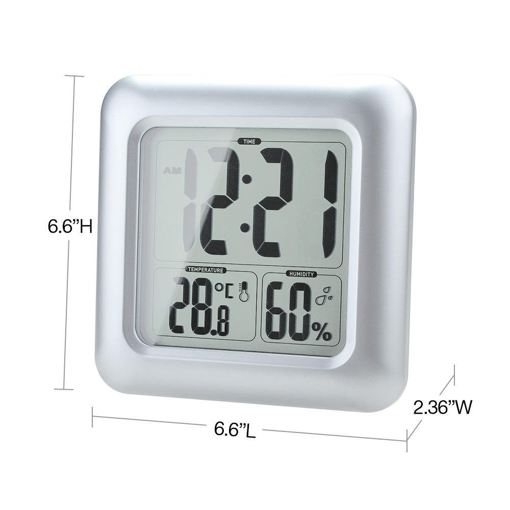Bathroom Mirror Clock Digital Large LCD Display Watch with Humidy ...
