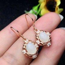 лучшая цена SHILOVEM 925 sterling silver Natural White Jade earring  lassic fine Jewelry women wedding women  wholesale le060801aghby