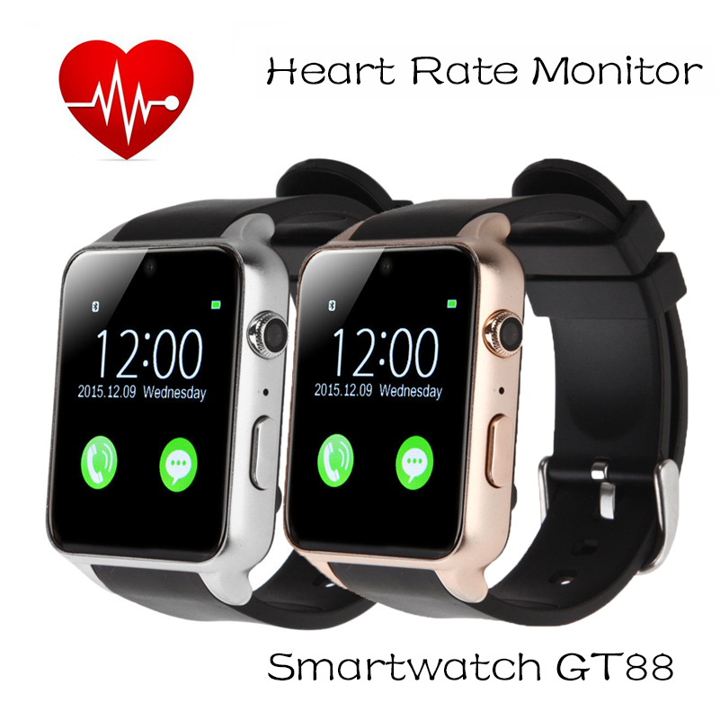 Waterproof GT88 Smart watch Heart Rate Monitor MTK2502C Bluetooth font b Smartwatch b font For Apple