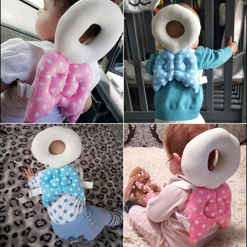 2019 New Cute Baby Head Protection Pad Toddler Headrest Pillows Baby Neck Wings Nursing Drop Resistance Cushion Candy Color 1PCS