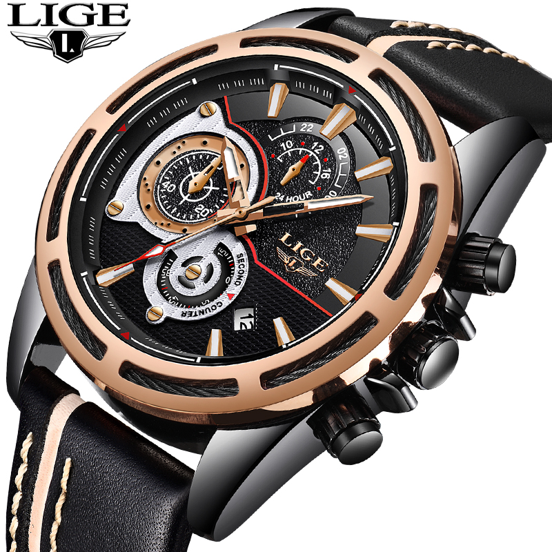 LIGE Mens Watches Top Brand Luxury Big Dial Quartz Watch Men Casual Leather Chronograph Sport Military Watches Relogio Masculino mens watches top brand luxury oulm 3130 dual time large dial watches leather band casual quartz watch relogio masculino grande