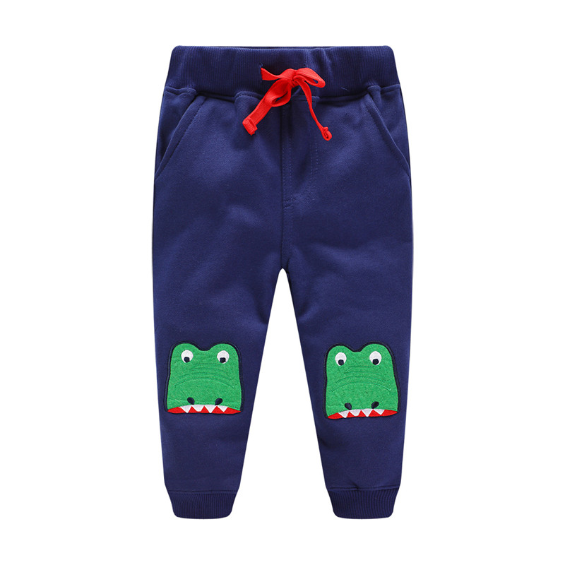 Baby boys new style pants boys cute cartoon pants with applique lovely dinosaur heads top baby boys spring autumn winter pants striped tape applique velvet pants
