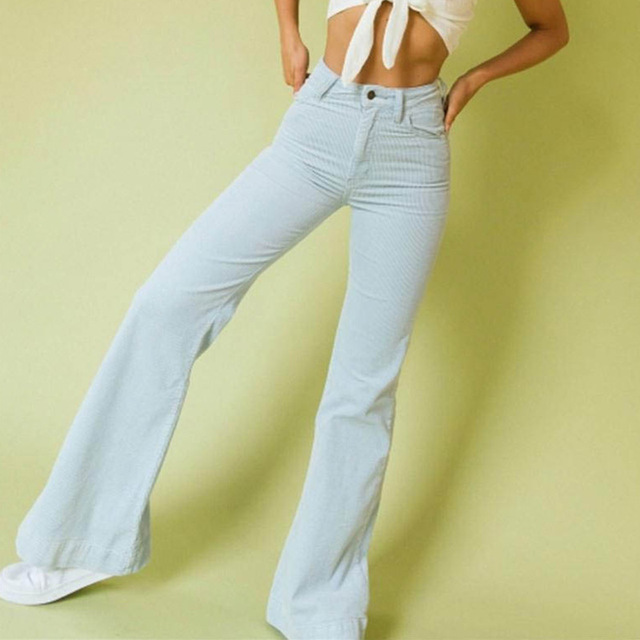 Autumn Winter Corduroy Women Flare Pants Office Trousers Casual Flat Mid Solid Women Bodycon Pants Streetwear Female Slim Pants