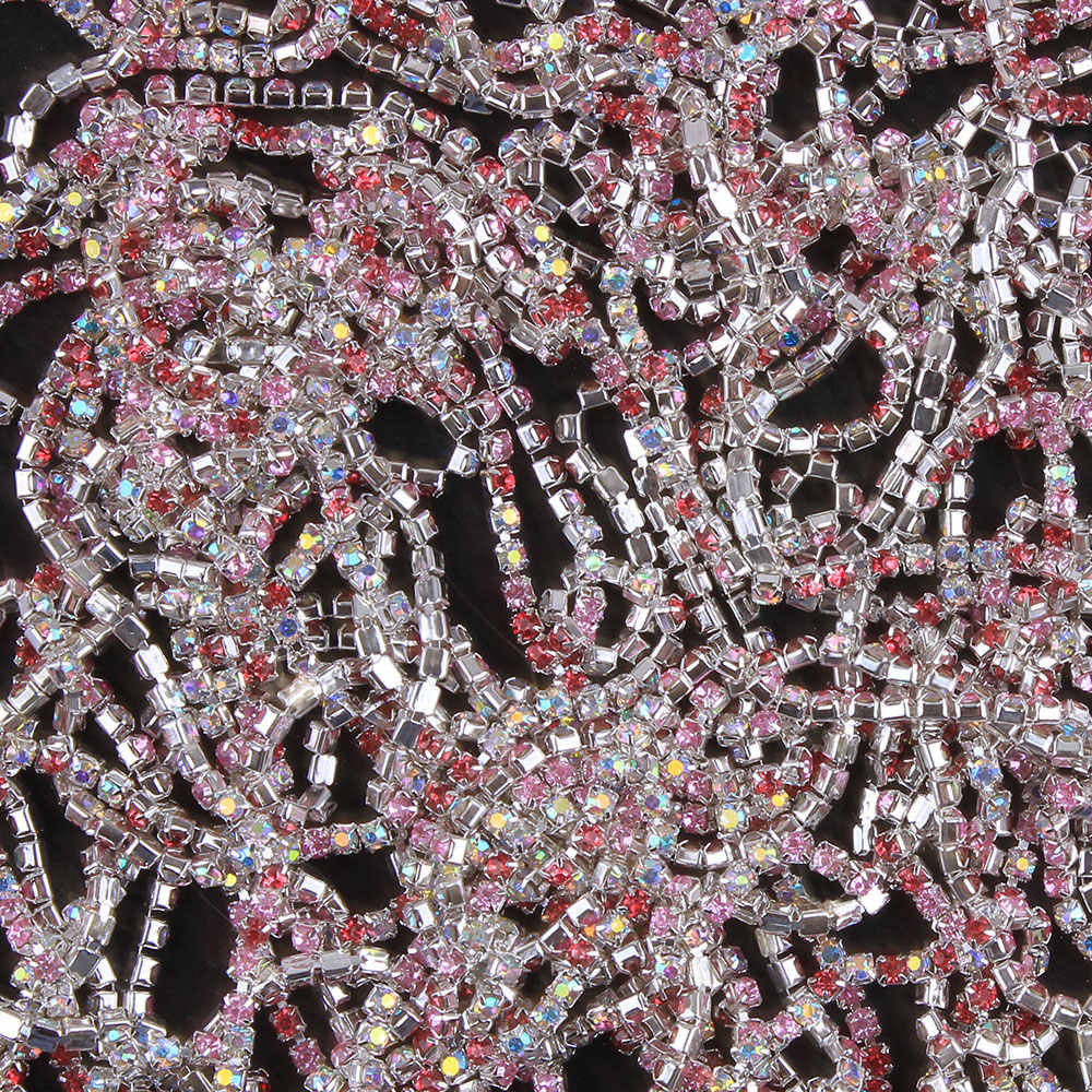 ZOTOONE SS10 Mix Pink Rhinestone Chain AB Crystals Applique Strass Trim Sew on Glue on Base Cup Chain for Ornament Garment Diy E