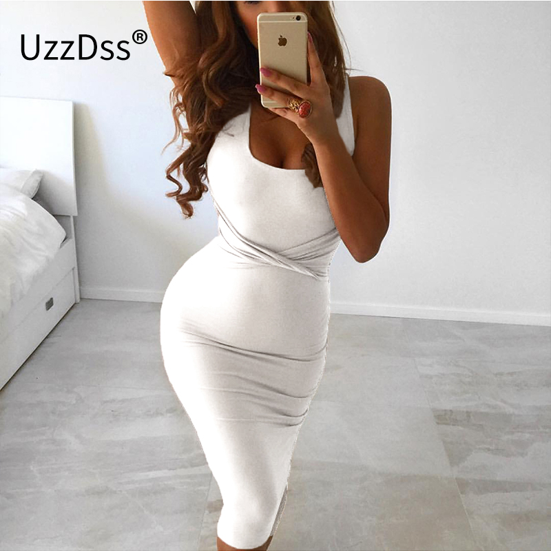 2017 Verão Mulheres Sexy Branca Sem Mangas Tanque Bodycon Criss Cruz Vestido Mistura de Algodão Clube Partido Magro Vestidos vestidos Vestido Preto