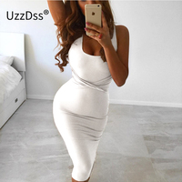 2017 Summer Women Sexy Sleeveless White Tank Bodycon Dress Cross Criss Cotton Blend Club Party Slim