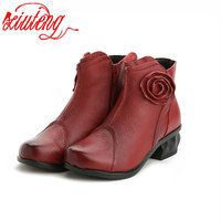 Xiuteng High Quality Mujer Chaussure Women Genuine Leather Boots Casual Ladies Martin Shoes Winter Flat Boots