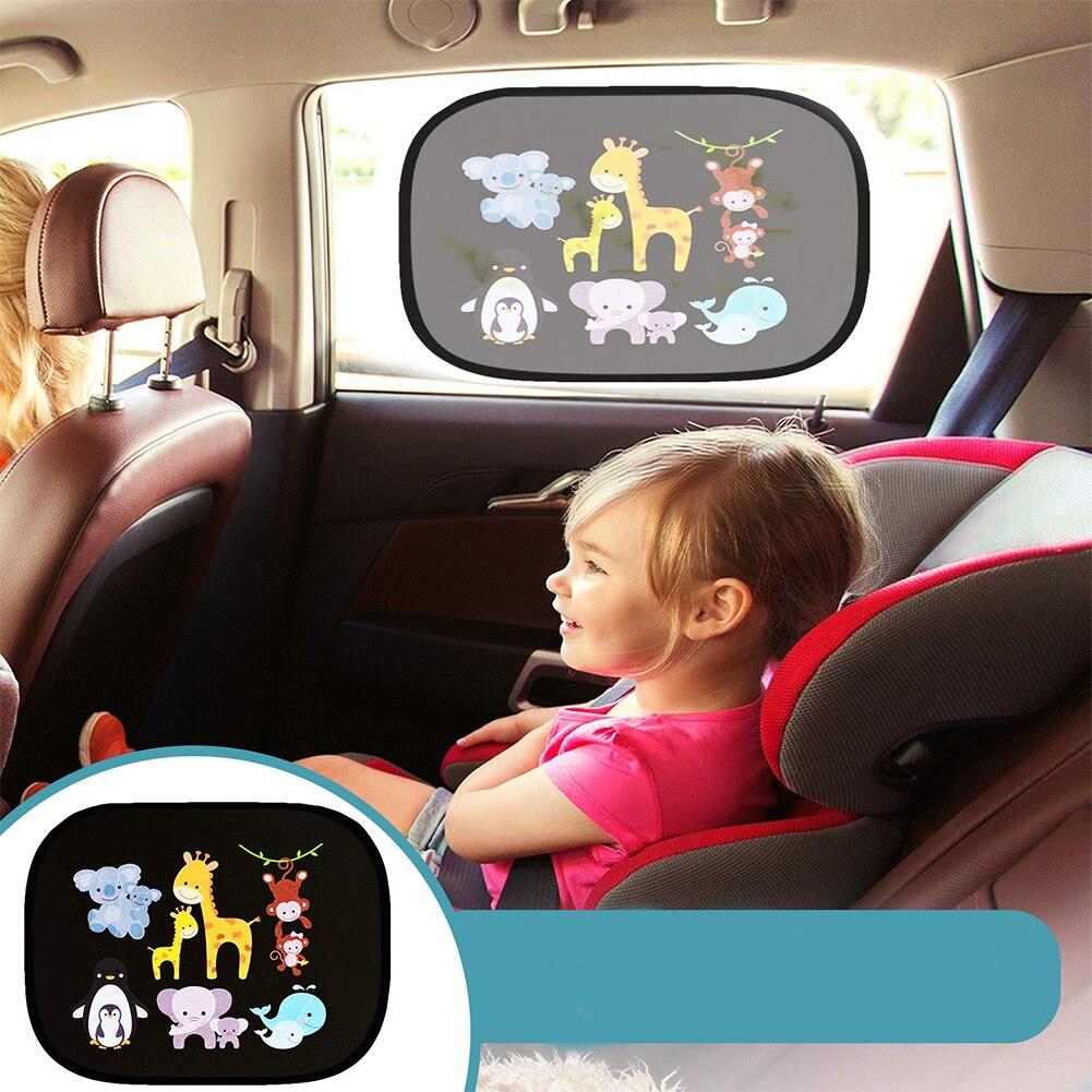 2PCS Car Windshield Sun Shade Electrostatic Curtains Sticker UV Protection Cover Universal Baby Shade Cartoon Window 44x36cm