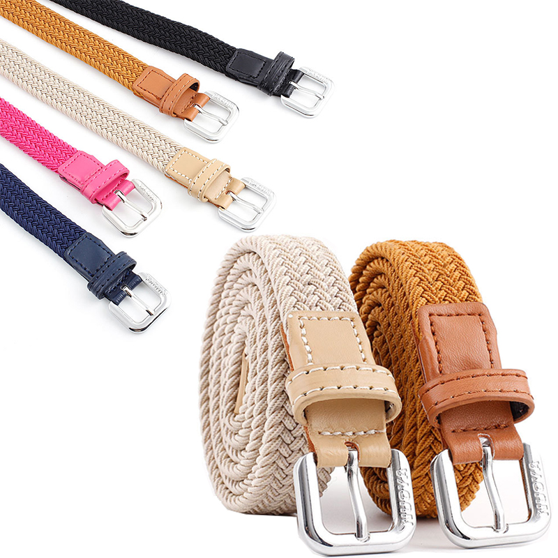 Fashion Womens Vivid Braided Casual PU Canvas Weaving Narrow Thin Buckle Strap Waist Belt Candy Waistband Belt Metal Buckle