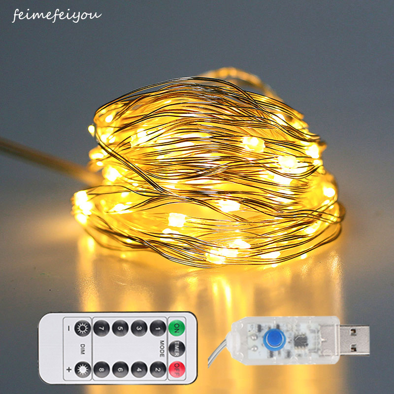 10/20m 100/200led Copper Wire LED String Lights USB Power With Remote Control Fairy Lights String Christmas Wedding DIY Decor