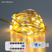 hot deal buy feimefeiyou 10m/20m 100led copper wire led string lights starry lights christmas fairy lights usb powered+remote controller