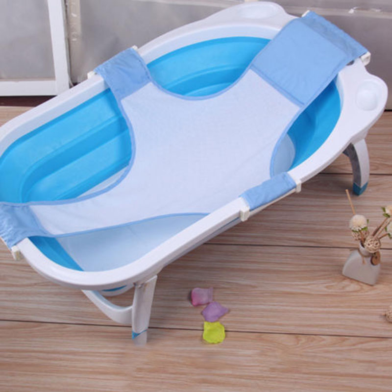 Blue Safety Baby Bath Support Seat Adjustable Comfortable Infant Newborn Bath Seat Support Net Bath Sling Non-Slip Mesh Bathing Cradle for Tub Bathroom Accessory