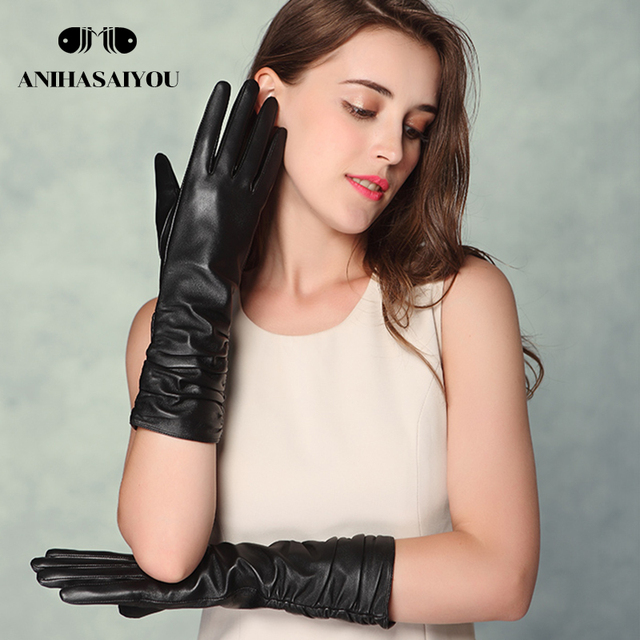 a0fcc8e43a5db New Women s long leather gloves