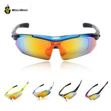 WOLFBIKE new  Polarized Cycling Sun Glasses Outdoor Sports Bicycle Glasses Bike Sunglasses Driving Racing Goggles Eyewear 5 Lens