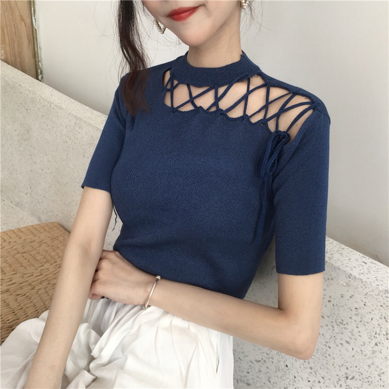 Women Knitted Short Sleeves Tee Shirt  Summer Hollow Out Breathable Top T shirt