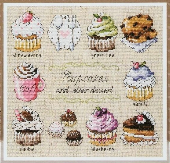 CUP CAKES DESSERT DIY Craft Stich Cross Stitch Package Cotton Fabric Needlework Embroidery Crafts Counted Cross-Stitching Kit