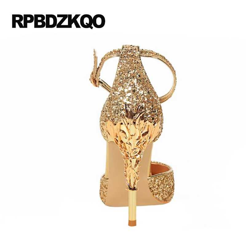 cdefd0cfdaa ... Ankle Strap Glitter Golden Thin Silver High Heels Gold Wedding Shoes  Pumps Size 4 34 Ladies ...