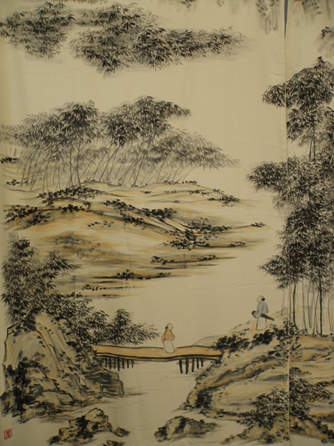 Traditional Chinese Painting Door Curtain Roller Blind Folding Unique Bay Window Living Room Painting