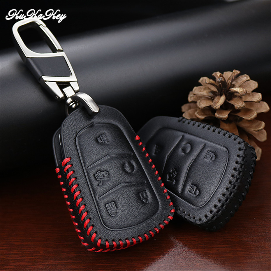 Genuine Leather Key Case Cover Keychain For Cadillac Escalade ESV XTS ATS CTS SRX 6BT CT6 ATS-L XT5 BLS Car Styling Accessories