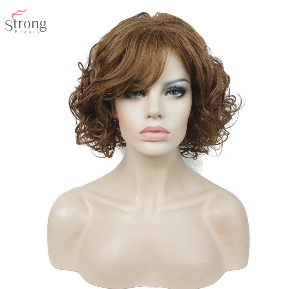 StrongBeauty Womens Brown Medium Curly Hairstyles Hair Wig Synthetic Full Wigs