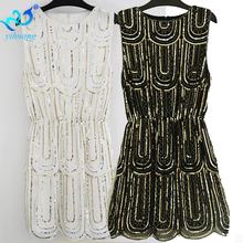 Vintage 1920s Flapper Great Gatsby Dress Sequined Beading Fringe Party Midi 2018 Summer Women