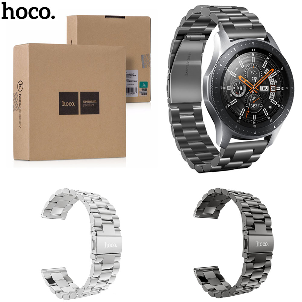 HOCO Silver Black Stainless Steel Wrist Strap for Samsung Galaxy Watch 46mm SM-R800 Band Bracelet in Retal Package
