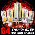 1/4/8pcs/lot Good Quality Ultra Bright 12vAC/DC 3W 5W 24/48 leds G4 3014SMD LED Lamp Corn Bulb Cold/Warm White Light