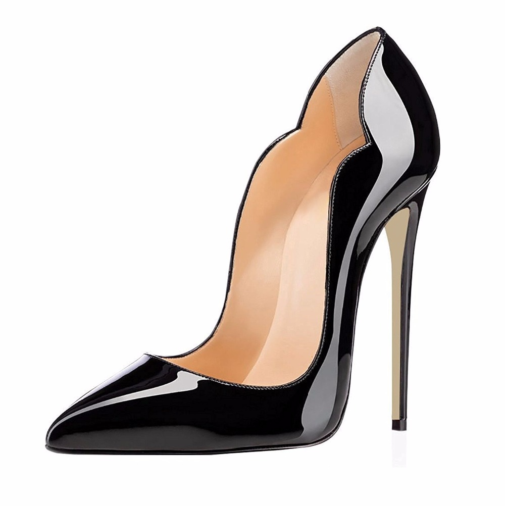 ФОТО Women's High Heel Cut-out Patent Pumps Pointed Toe Fashion Party Dress Thin Heels Ladies Stiletto Shoes Closed Toe 12cm Height