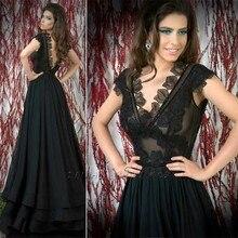 V-ausschnitt A-line Chiffon-Langes Kleid Durchsichtig Applizierte Schwarz Abendkleider