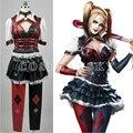 Harley Quinn Dresses Cosplay Costume Batman Arkham Asylum Cos Tops Skirt Stockings Halloween Uniforms For Women