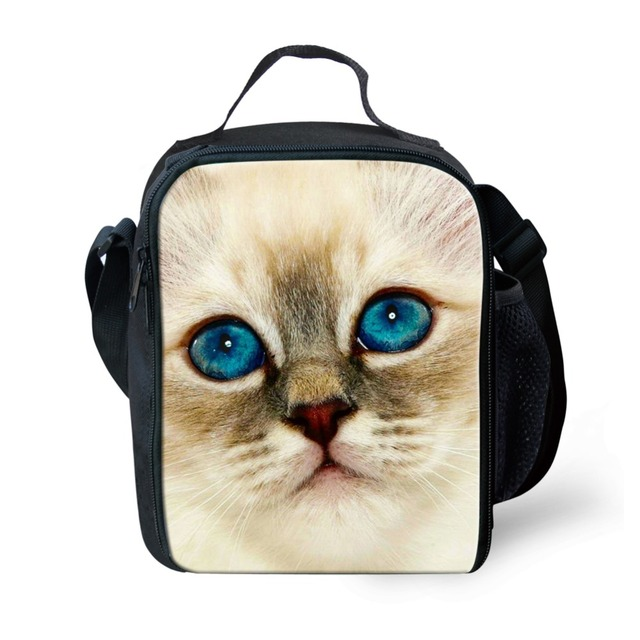 FORUDESIGNS Lunch Bags for Women Cute Cat Kid Girls Shoulder Picnic Box Thermal Insulated Lunchbox Children School Food Package