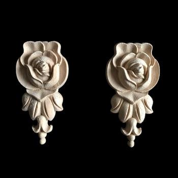 Wood Decoration Carving Flower Piece Door Decals Decorative Furniture Vintage Home Decor Figurines Miniatures Ornaments