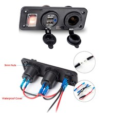 12V Car Boat Truck Dual USB Charger With Cigarette Lighter Plug Switch for Phone(China)