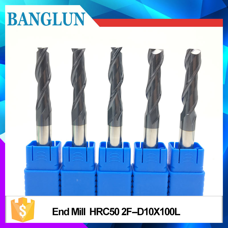 1pcs HRC50 EndMills 10mm12mm100L Solid Carbide Extra Long 2Flute Spiral Straight Shank Flat End Mill for CNC Milling Cutter 3 175 12 0 5 40l one flute spiral taper cutter cnc engraving tools one flute spiral bit taper bits