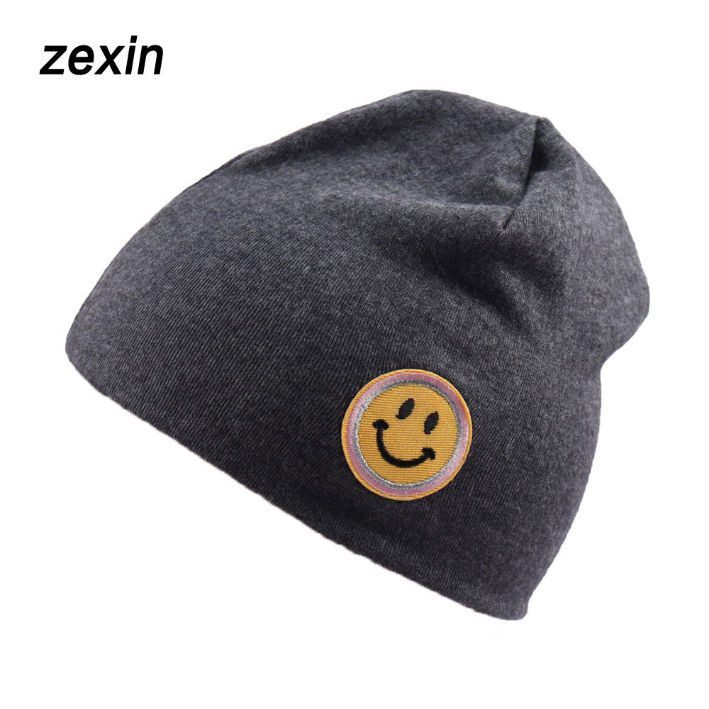 Spring Plain Knitted Cotton Hat   Beanies   Girls Boys Autumn Outdoor Playing Cap Smile Emoji Print Cap For Kid