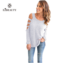 2017 Loose Top Women Spring Solid T-shirt Long Sleeve Tees Off the Shoulder Tops for Women Female Hole Fashion T Shirt
