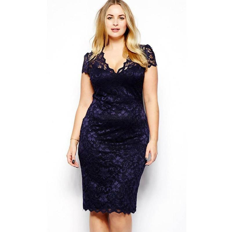 Womens Bodycon Lace Midi Dresses V neck Short Sleeve Party Dress Plus Size in Dresses from Women 39 s Clothing