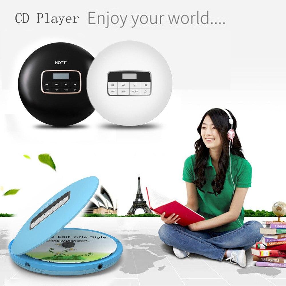 Lecteur CD Portable personnel avec prise casque, lecteur de baladeur de disque de musique CD Compact de Protection antichoc Anti-saut avec écran LCD