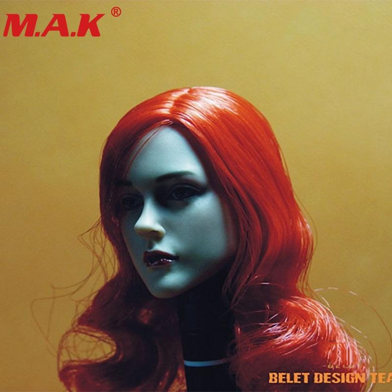 1/6 escala cabeça esculpir feminino menina mulher viúva escultura com cabelo vermelho 12