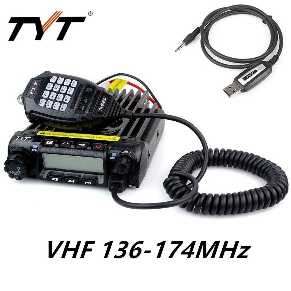 Оригинальный TYT TH9000D TH9000 Хэм автомобилей мобильного радио 136 174 мГц УКВ 60 Вт трансивер 200CH DTMF TH 9000D + TYT USB Кабель для программирования