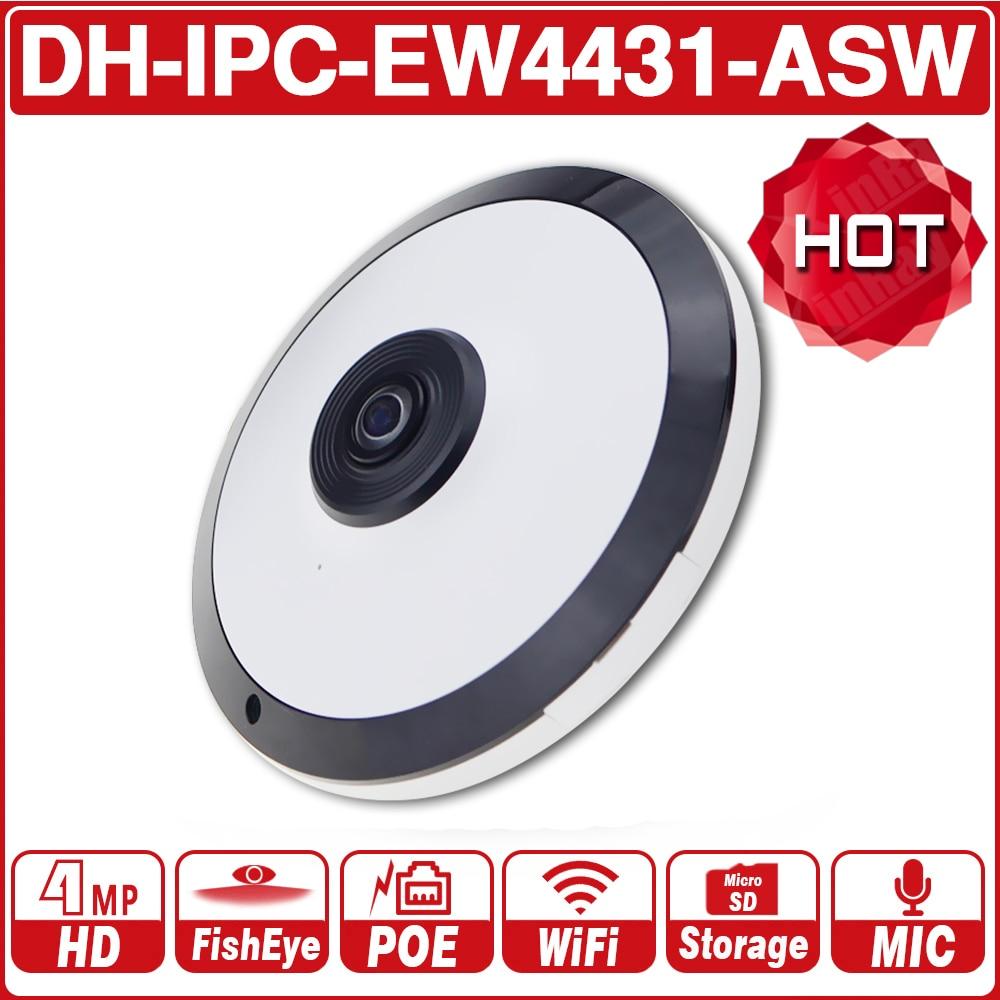 DH IPC-EW4431-ASW 4MP Panorama POE WI-FI 360 Câmera Olho De Peixe IP MICROFONE embutido Slot Para Cartão SD de Áudio Interface de Alarme Com O Logotipo